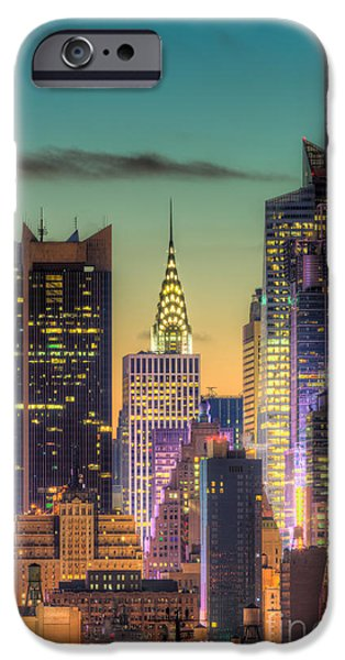 Midtown Buildings Morning Twilight iPhone Case by Clarence Holmes