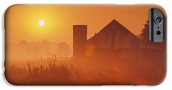 Indiana Scenes iPhone Cases - Midwestern Rural Sunrise - FS000405 iPhone Case by Daniel Dempster