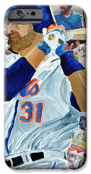 Mike Piazza iPhone Case by Michael Lee