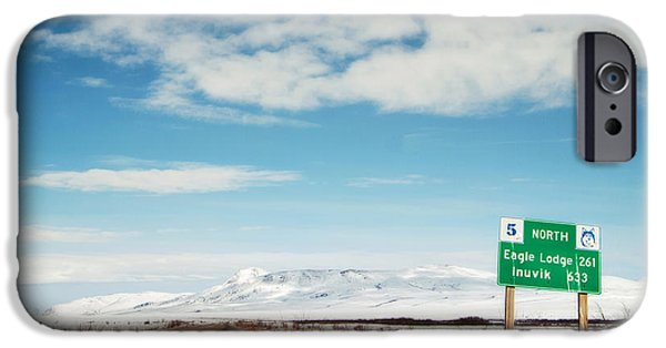 Husky iPhone Cases - Milepost at the Dempster Highway iPhone Case by Priska Wettstein