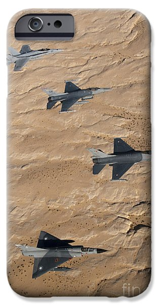 Jordan iPhone Cases - Military Fighter Jets Fly In Formation iPhone Case by Stocktrek Images