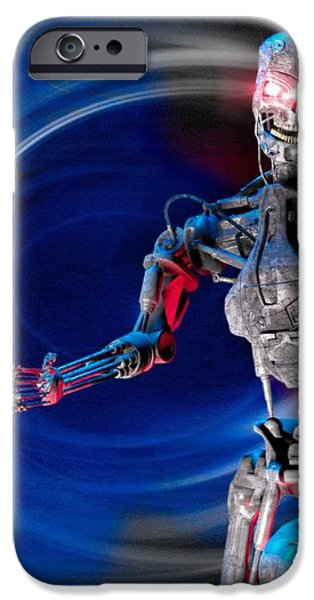 Military Robot, Artwork iPhone Case by Victor Habbick Visions