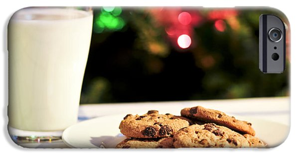 Cookie iPhone Cases - Milk and cookies for Santa iPhone Case by Elena Elisseeva