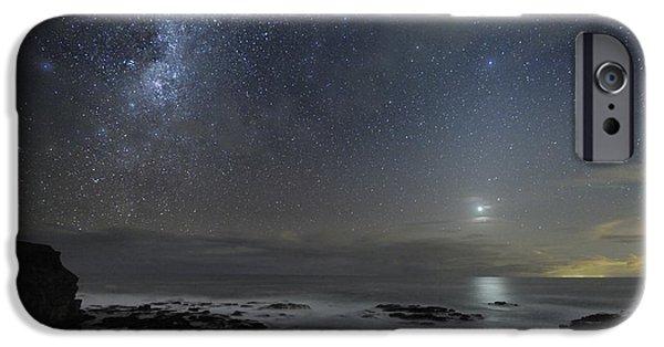 Moonlit Night Photographs iPhone Cases - Milky Way Over Cape Schanck, Australia iPhone Case by Alex Cherney, Terrastro.com