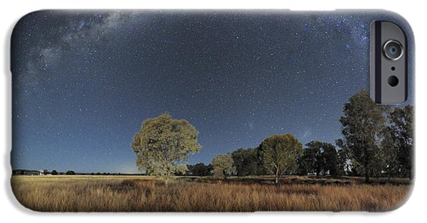 Moonlit Night Photographs iPhone Cases - Milky Way Over Parkes Observatory iPhone Case by Alex Cherney, Terrastro.com