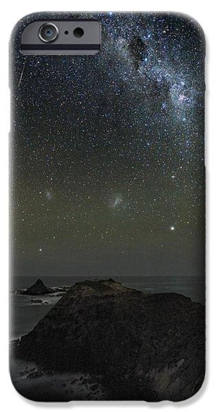 Moonlit Night Photographs iPhone Cases - Milky Way Over Phillip Island, Australia iPhone Case by Alex Cherney, Terrastro.com