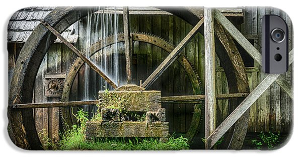 Grist Mill iPhone Cases - Mill Wheel Detail iPhone Case by Charlie Choc
