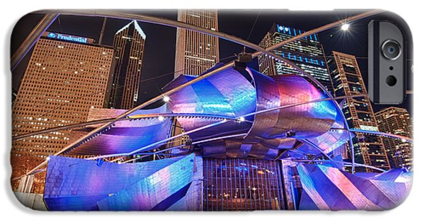 Night iPhone Cases - Millennium Park iPhone Case by Sebastian Musial