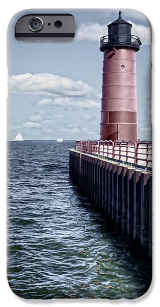 Built Structure iPhone Cases - Milwaukee Pierhead Lighthouse iPhone Case by Joan Carroll