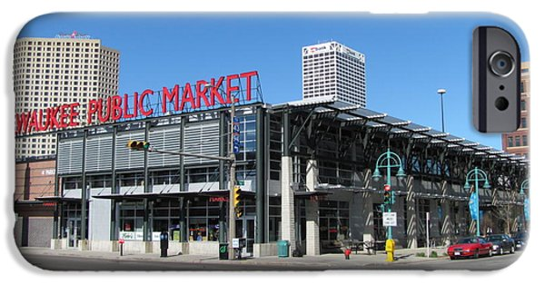 City Scape iPhone Cases - Milwaukee Public Market 1 iPhone Case by Anita Burgermeister