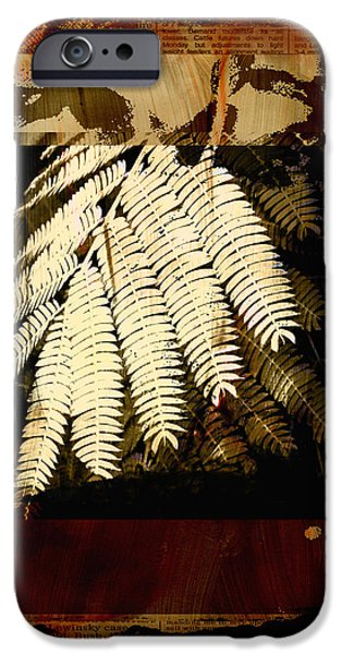 Mimosa Leaf Collage iPhone Case by Ann Powell