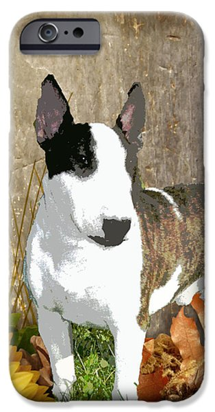 Puppy Digital Art iPhone Cases - Minature Bull Terrier iPhone Case by One Rude Dawg Orcutt