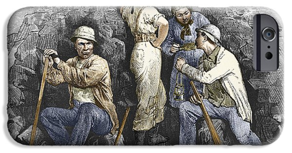 Working Conditions iPhone Cases - Miners And Their Wives, 19th Century iPhone Case by Sheila Terry