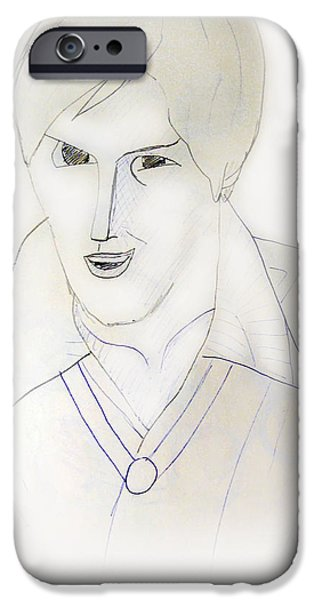 Monotone Drawings iPhone Cases - Minimalism - Young Man iPhone Case by Brian Wallace