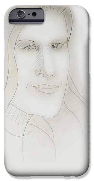 Monotone Drawings iPhone Cases - Minimalism - Young Woman iPhone Case by Brian Wallace