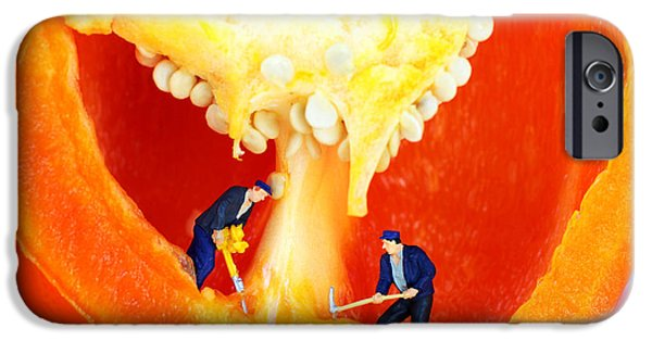 Pop Surrealism Digital iPhone Cases - Mining in colorful peppers II iPhone Case by Paul Ge