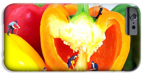 Small Digital Art iPhone Cases - Mining in colorful peppers iPhone Case by Paul Ge