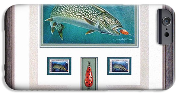 Minnesota iPhone Cases - Minnestao 1986 Trout Stamp original iPhone Case by JQ Licensing