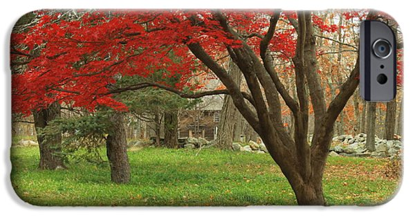 Concord Massachusetts iPhone Cases - Minuteman National Historic Park Late Foliage iPhone Case by John Burk