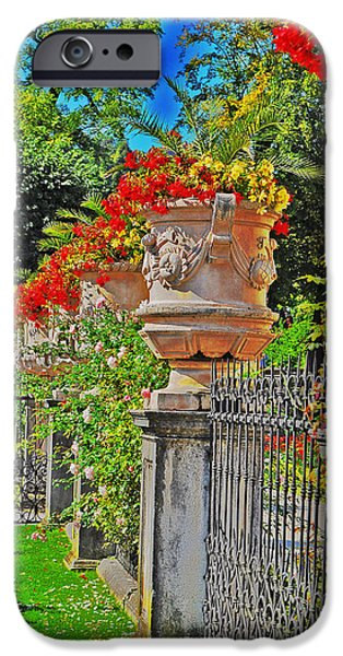 Mirabell Gardens in Salzburg HDR iPhone Case by Mary Machare