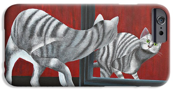 House Pet Paintings iPhone Cases - Mirror Image iPhone Case by Jutta Maria Pusl