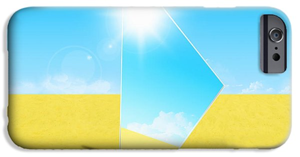 Reflex iPhone Cases - Mirror On Sand In Blue Sky iPhone Case by Setsiri Silapasuwanchai