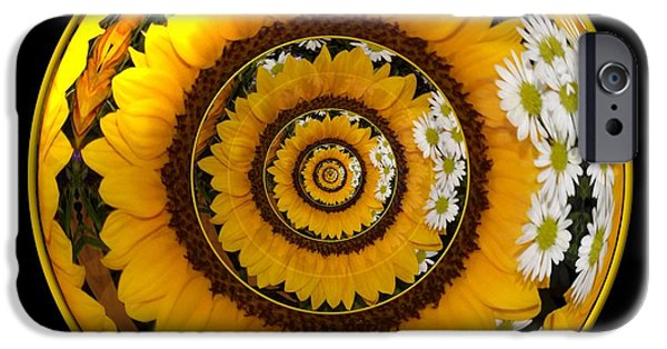 Artists4god iPhone Cases - Mirrored Sunflower under glass iPhone Case by Rose Santuci-Sofranko