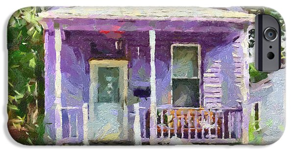 Doghouse iPhone Cases - Miss Penelopes Purple Cottage iPhone Case by Anne Kitzman
