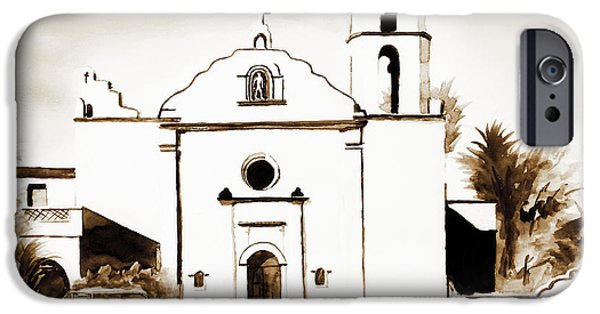 Buildings Mixed Media iPhone Cases - Mission San Luis Rey in Sepia iPhone Case by Kip DeVore