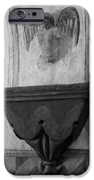 Mission San Xavier del Bac - Angel Gargoyle in Black and White iPhone Case by Suzanne Gaff
