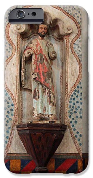 Mission San Xavier del Bac - Interior Sculpture iPhone Case by Suzanne Gaff