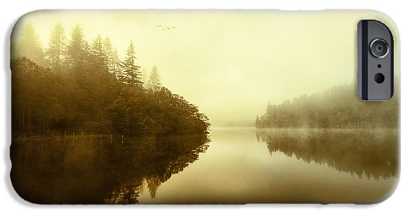 Colour Image iPhone Cases - Mist across the water Loch Ard iPhone Case by John Farnan