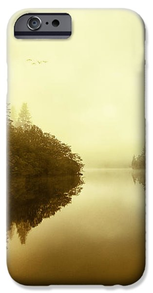 Mist across the water Loch Ard iPhone Case by John Farnan