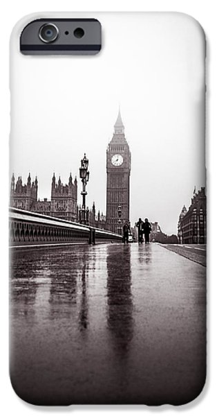 Carter House iPhone Cases - Misty Big Ben iPhone Case by Lenny Carter
