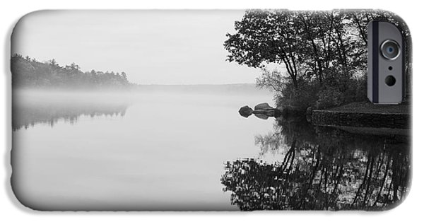 Canoe iPhone Cases - Misty Cove iPhone Case by Luke Moore