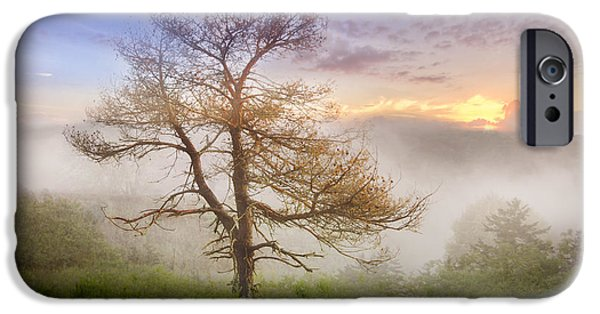 Smokey Mountains iPhone Cases - Misty Mountain iPhone Case by Debra and Dave Vanderlaan