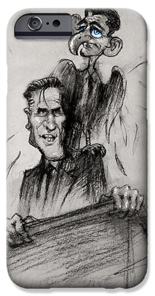 Presidential Elections iPhone Cases - Mitt Romney and his Flying Mate iPhone Case by Ylli Haruni