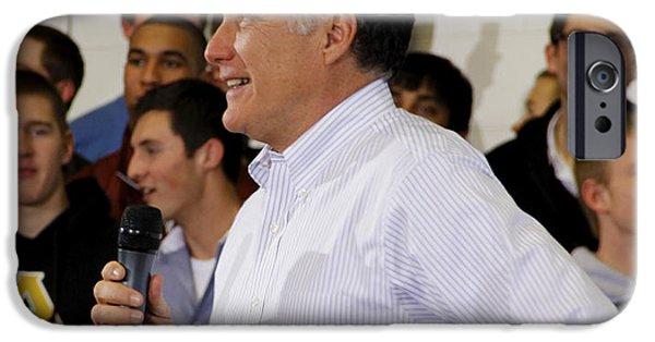 Mitt Romney iPhone Cases - Mitt Romney No. 2 Profile iPhone Case by Robert  SORENSEN