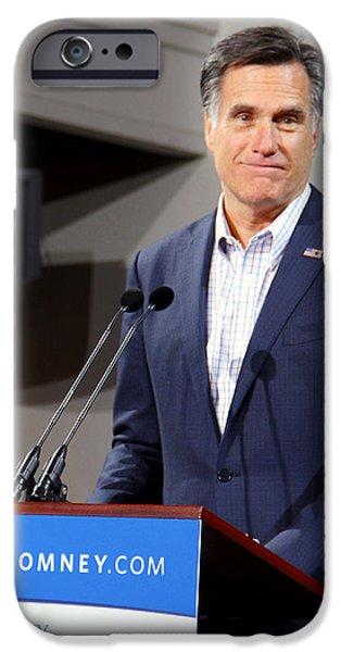Mitt Romney iPhone Cases - Mitt Romney No. 6 iPhone Case by Robert  SORENSEN
