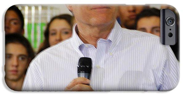 Mitt Romney iPhone Cases - Mitt Romney No. 7 iPhone Case by Robert  SORENSEN