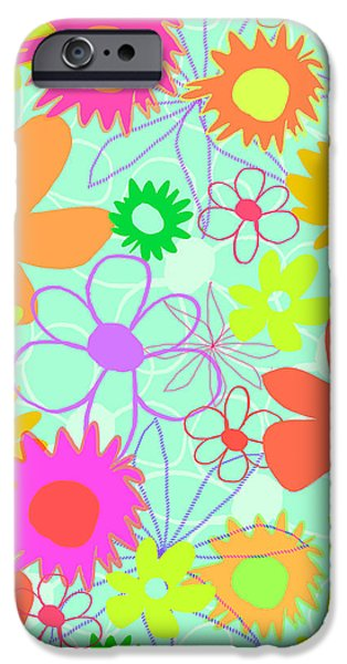 Louisa iPhone Cases - Mixed Flowers iPhone Case by Louisa Knight