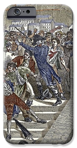 New Martyr iPhone Cases - Mob Attacking Jacquard In Lyon, France iPhone Case by Sheila Terry