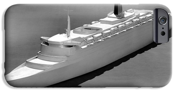 Queen Elizabeth iPhone Cases - Model Of The Qe2 Ocean Liner, 1964 iPhone Case by National Physical Laboratory (c) Crown Copyright