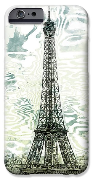 Abstract Sights Digital iPhone Cases - Modern-Art EIFFEL TOWER 12 iPhone Case by Melanie Viola