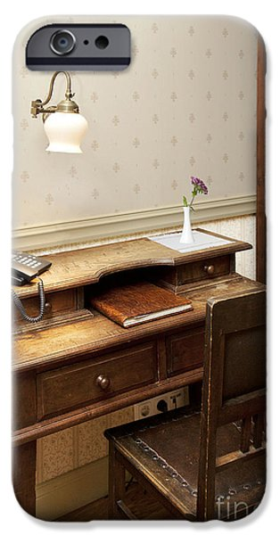 Modern Phone on an Old Fashioned Desk iPhone Case by Jaak Nilson
