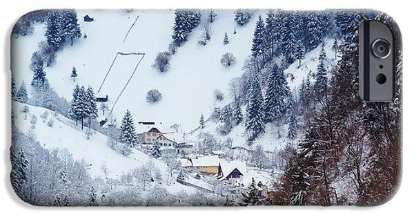 Wintertime iPhone Cases - Moeciu village in winter iPhone Case by Gabriela Insuratelu