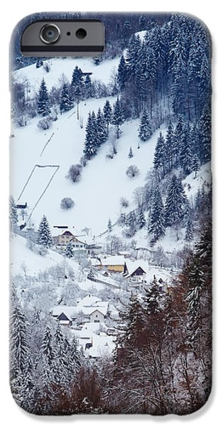 Moeciu village in winter iPhone Case by Gabriela Insuratelu
