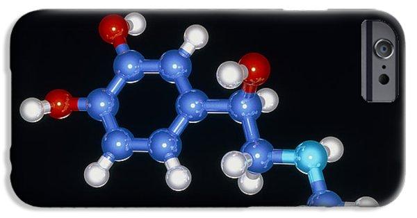 Adrenaline iPhone Cases - Molecular Model Of The Hormone Adrenaline iPhone Case by Laguna Design