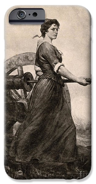 American Revolution iPhone Cases - Molly Pitcher At The Battle iPhone Case by Photo Researchers