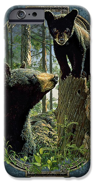 Cabin iPhone Cases - Mom and Cub Bear iPhone Case by JQ Licensing